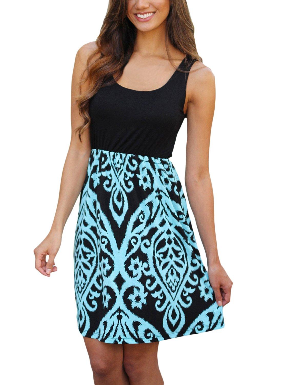 Bdcoco Women's Summer Sleeveless Print Beach Party Loose Casual Mini Dress Aqua Printed Large