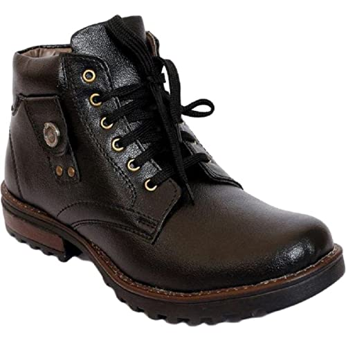 1beb9fcd50df Dls Men s Black Faux Leather Boots-9  Buy Online at Low Prices in ...