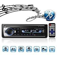 Autoradio Bluetooth USB, 4x60W FM Radio Voiture 1 Din, Lecteur mp3 USB/SD/AUX main libre avec Télécommande