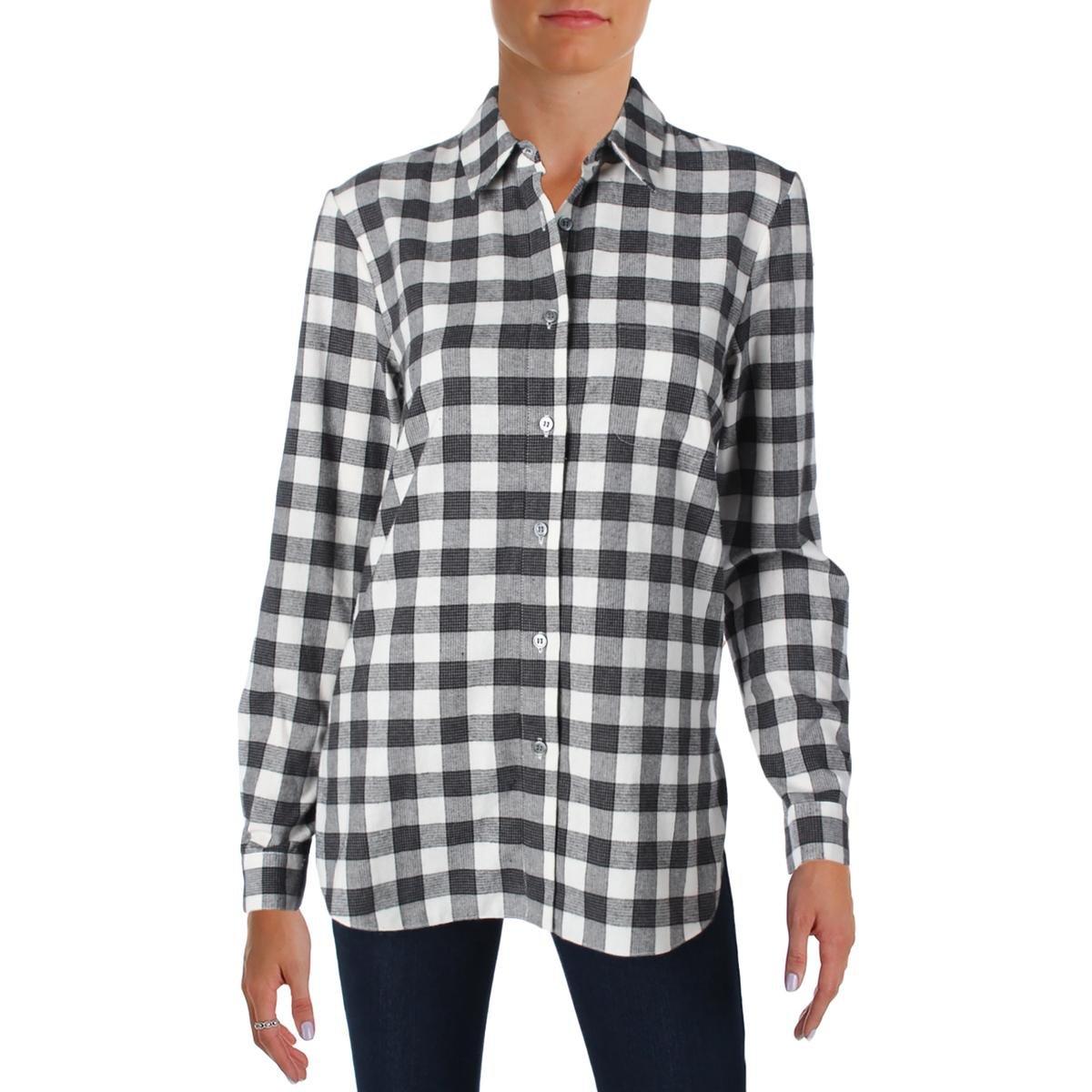 Jenni Kayne Womens Boyfriend Shirt Flannel Side Slit Button-Down Top B/W S