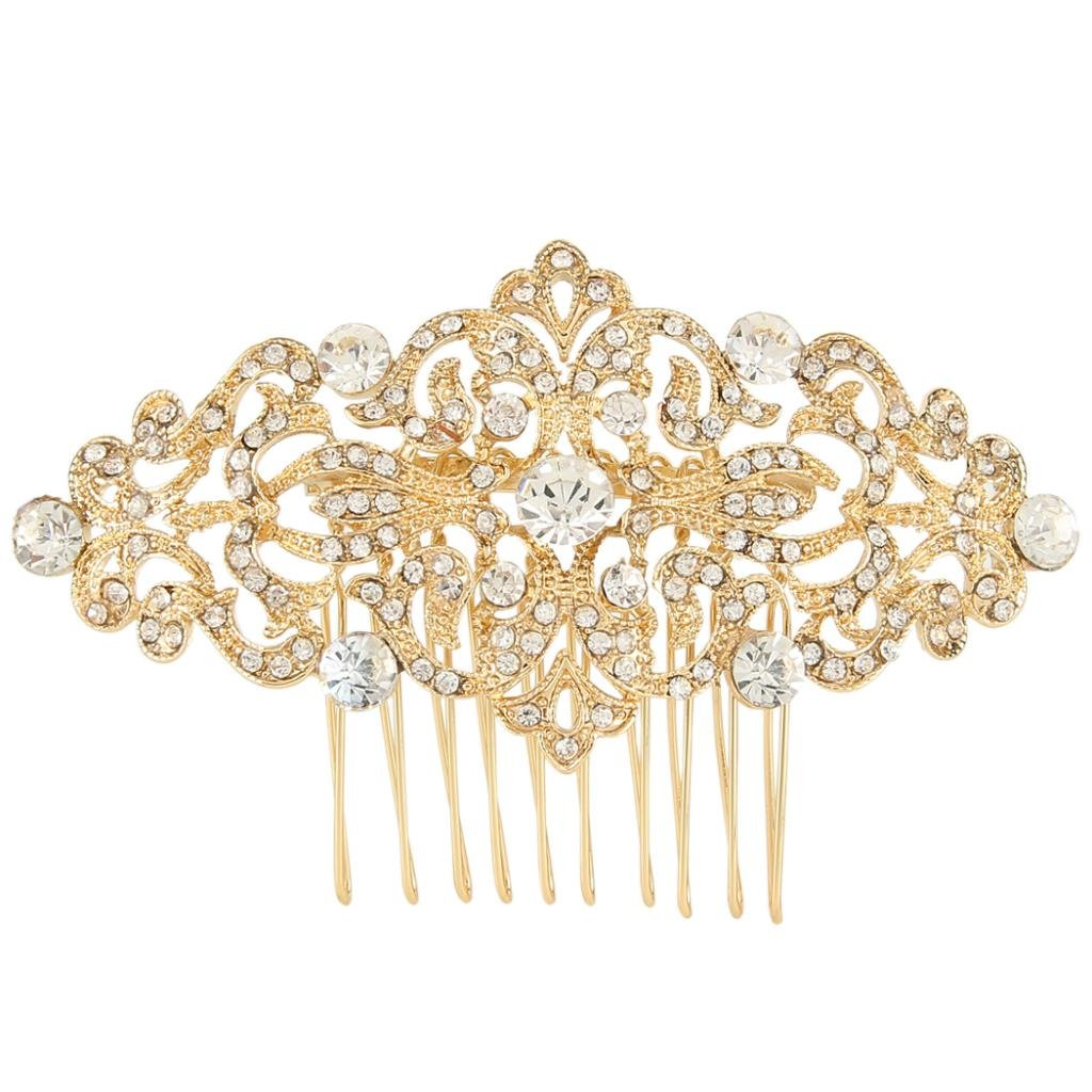 Ever Faith Art Deco Wave Bridal Hair Comb Clear Austrian Crystal Silver-Tone N04307-1 N04307-2