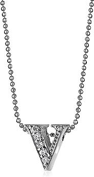 Alex Woo - Collar con Colgante de Letra pequeña, Diamante y Oro Blanco de 14 K
