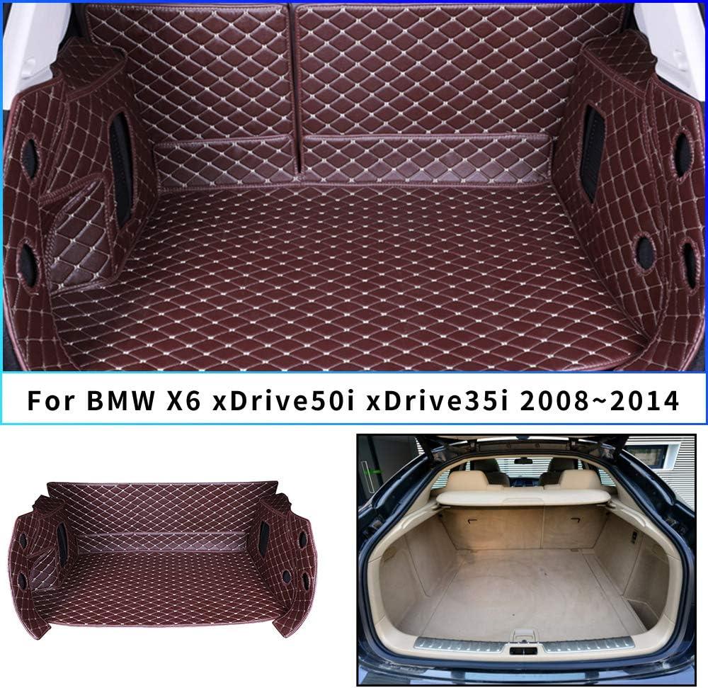Tuqiang Tapis de Coffre en Cuir pour X6 xDrive50i xDrive35i 2008-2014 3D Complet Entour/é Imperm/éable Tapis de Coffre Protection Cargo Liner Noir