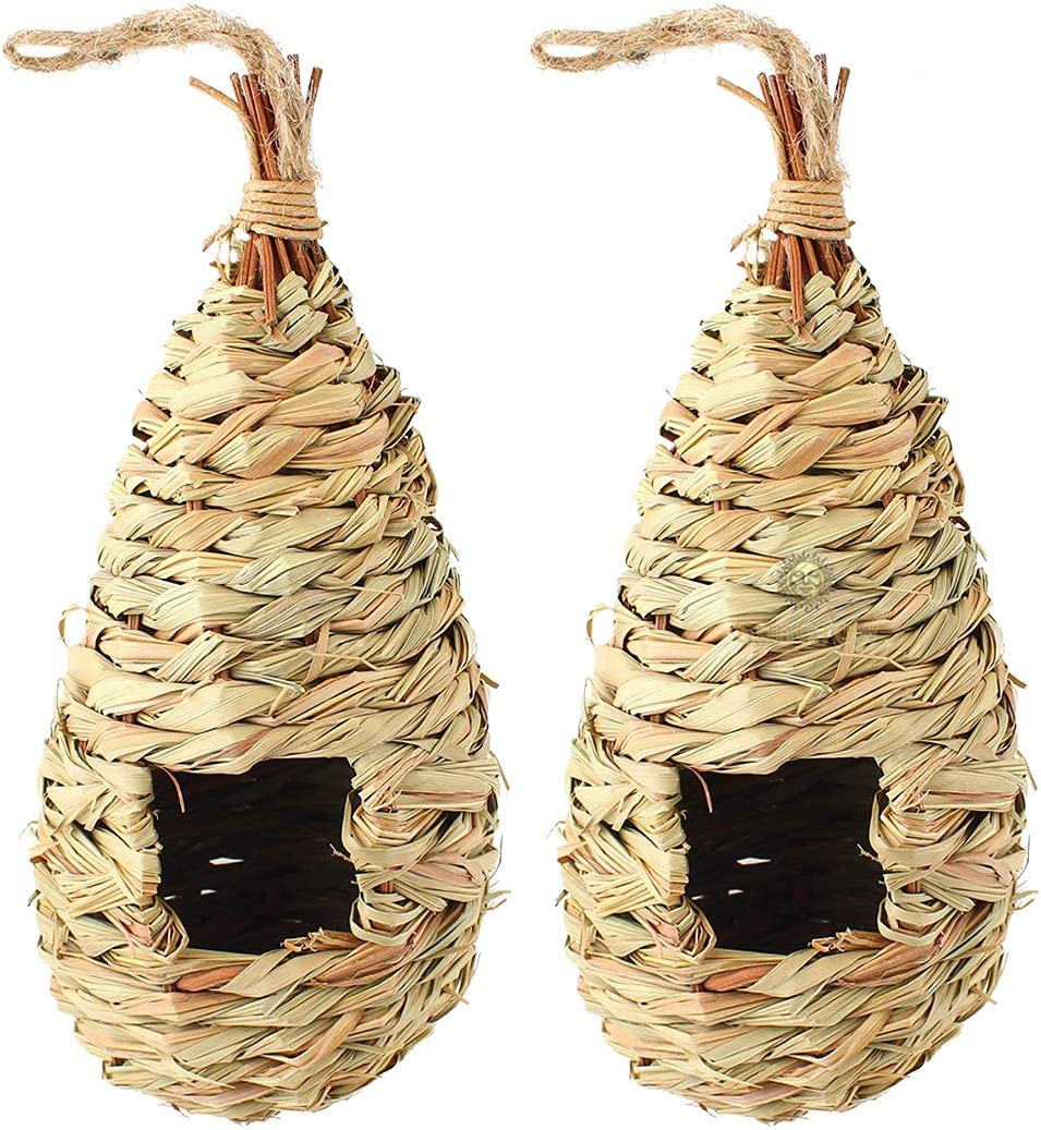 SunGrow Grass Bird Hut, Resting Place for Wild Birds, Handwoven Teardrop Shaped, Provides Shelter from Extreme Temperatures, Hideaway from Predators, Ideal for Finch & Canary, 2-Pack