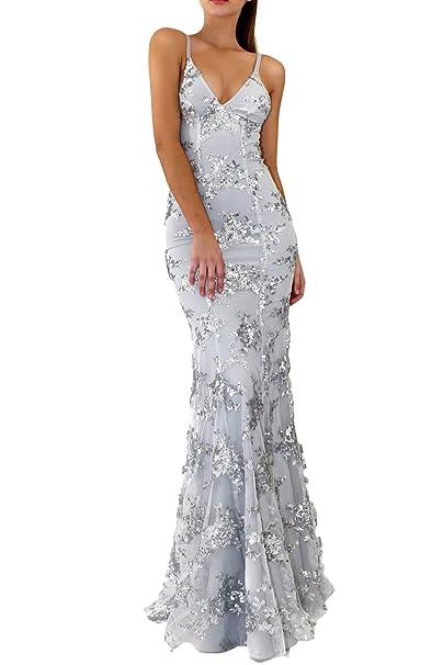 La Mujer Elegante con Cuello En V Profundo Lentejuelas Dobby Cordon Backless Maxi Vestido De Novia: Amazon.es: Ropa y accesorios