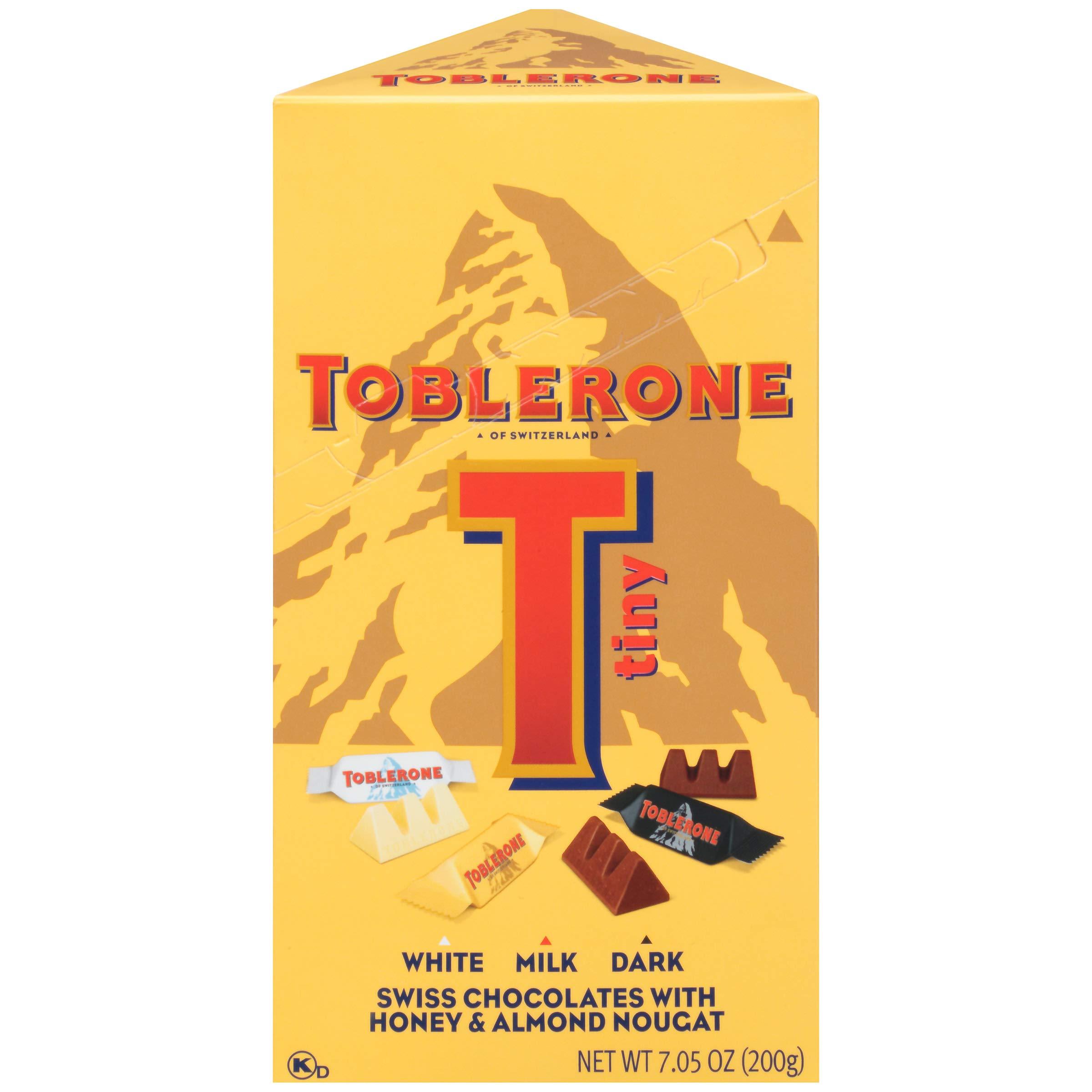 Toblerone Tiny Swiss Chocolates with Honey & Almond Nougat Variety Pack, White Chocolate, Milk Chocolate and Dark Chocolate Box, White / Dark, 75 Oz
