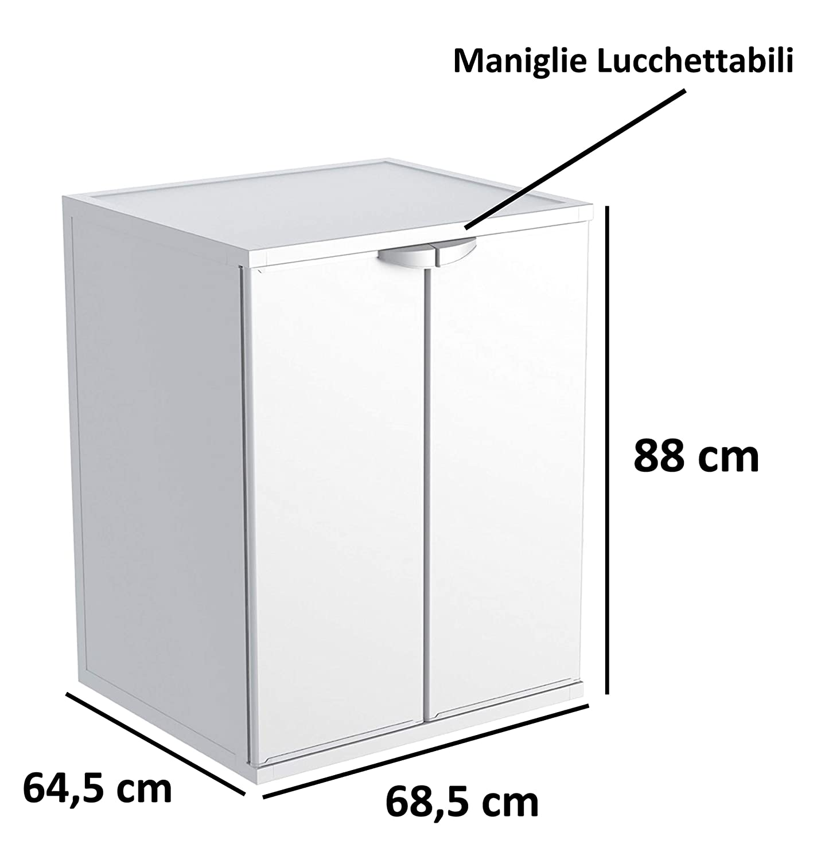 L L 68,5 x P 64,5 x h 88 cm Uso Interno//Esterno Bianco Adventa Mobile Coprilavatrice in Resina PVC