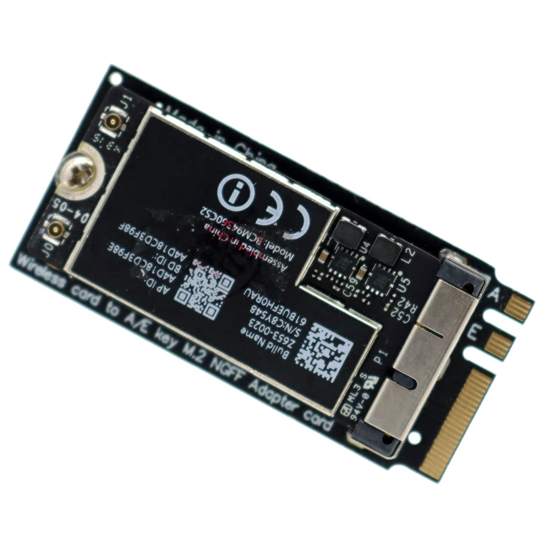 M.2 Key A//E 2230 Converter Adapter for Mac OS Hackintosh Deal4GO for Broadcom BCM94360CS2 BCM94360CD BCM943602CS BCM94331CD BCM943224P WLAN Card to NGFF