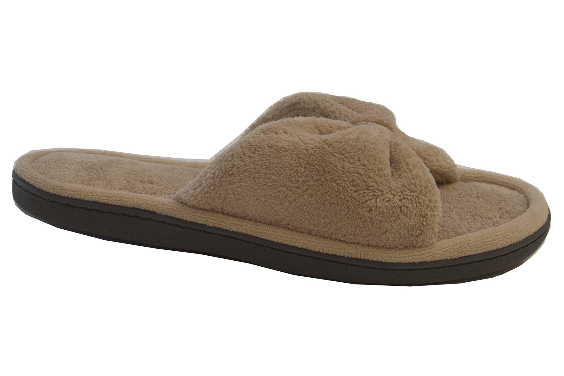 Isotoner Women's Microterry Bow Open Toe Slide Slipper, Sandtrap, 7.5-8