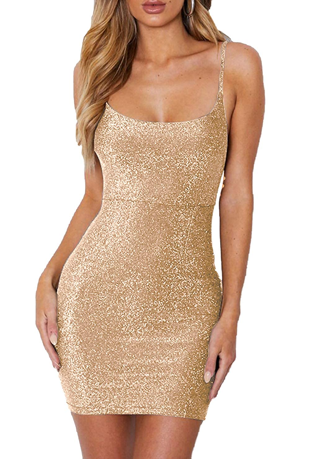 gold Aicycling Womens Glitter Dress Party Lace Up Mini Dress Tie Up Open Back Dress