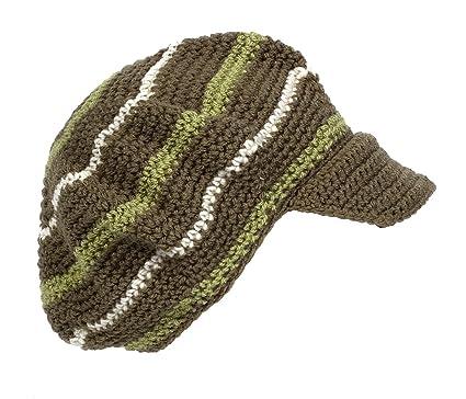 Amazon.com  POM London Crochet Baker Boy Hat  Khaki 4e98eb0bebc