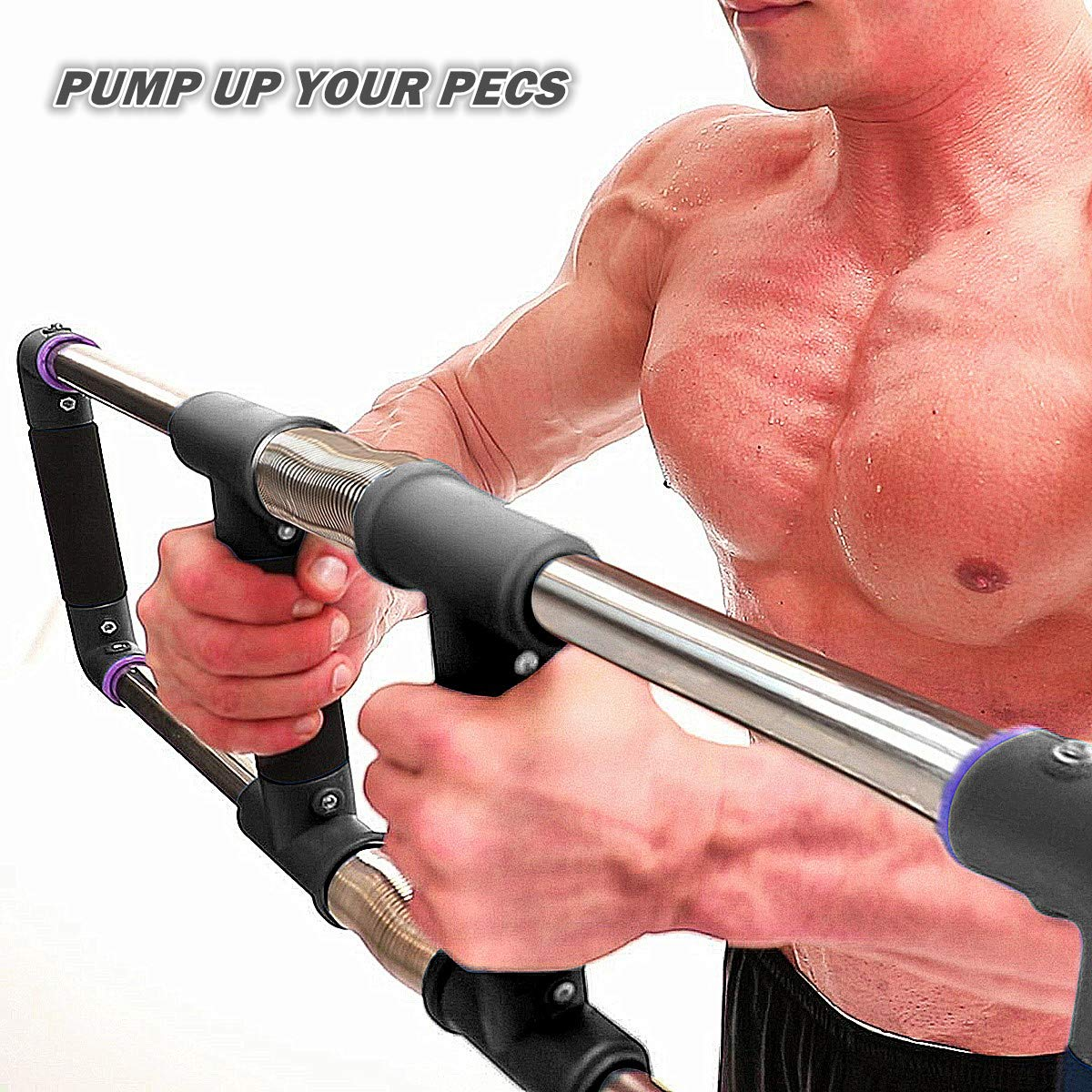 GoFitness Super Push Down Bar - Total Upper Body Workout Equipment, Press Down Machine - Chest Workout, Strength Training, Home Fitness by GoFitness (Image #3)