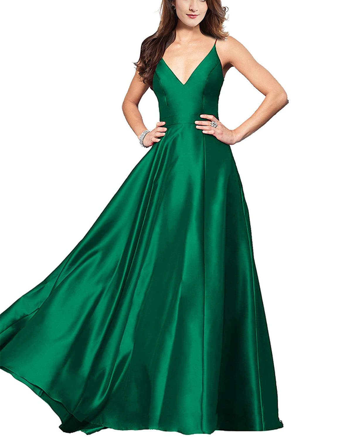 Lily Wedding Womens V,Neck Satin Prom Dresses 2019 Long Aline Sleeveless  Formal Evening Ball Gowns GD48 Size 16 Emerald Green