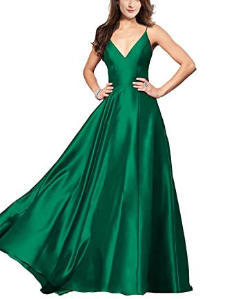 comfortable feel 2019 wholesale price purchase authentic Lily Wedding Womens V-Neck Satin Prom Dresses 2019 Long Aline Sleeveless  Formal Evening Ball Gowns GD48 Size 4 Emerald Green