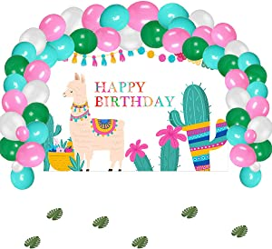 Llama Birthday Party Supplies Decorations, Llama Theme Backdrop with Balloons Kit for Kids Photo Background, (No Banner Cake Topper, Favors and Flatware)