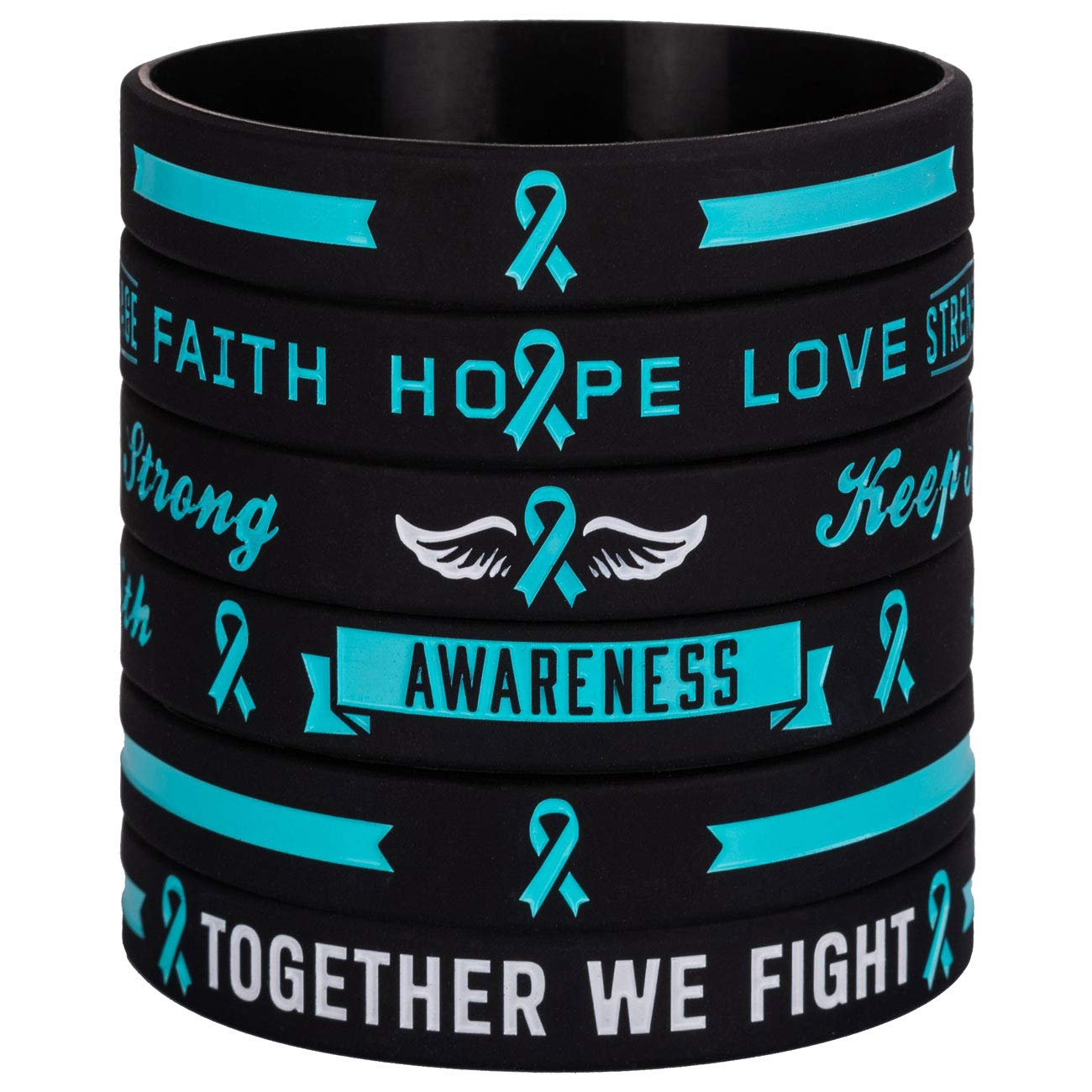 Teal Cancer /& Cause Ribbon Wristbands Gifts for Men Women Sainstone Teal Awareness Ribbon Silicone Bracelets with Saying Family Friends Patients Survivors Mental Health Awareness Bracelet