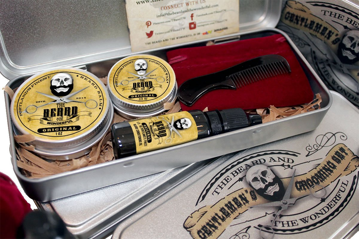 Kit de afeitado para hombres con aceite de barba tradicional, cera para bigote, bálsamo de control de la barba y minipeine empaquetado en una estupenda caja de regalo de aluminioEl regalo perfecto, natural, bajo en olor y sin aromas. The Beard and The Wond