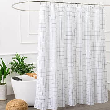 Mold Resistant Fabric Shower Curtain For Bathroom Black And White,Washable  STALL Size 72 X