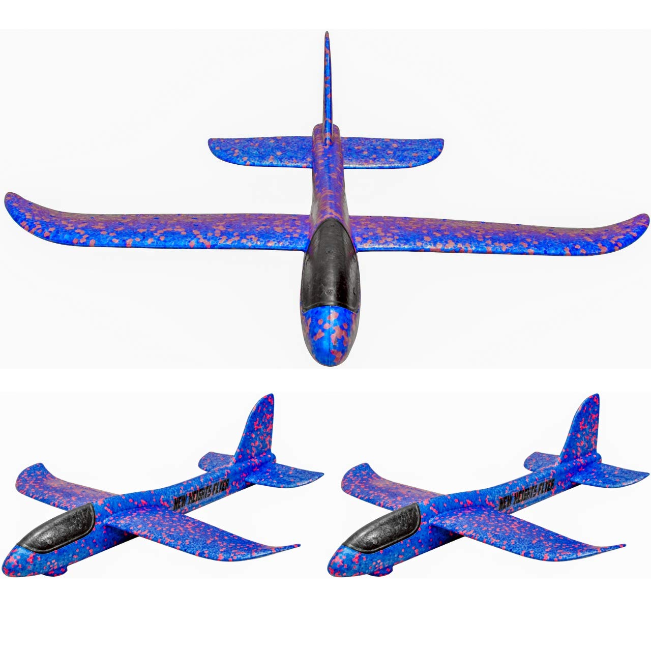 New Heights Flyer Hand Launch Glider Foam Toy Airplane 19 Inch Wingspan 3 Pack (Blue)
