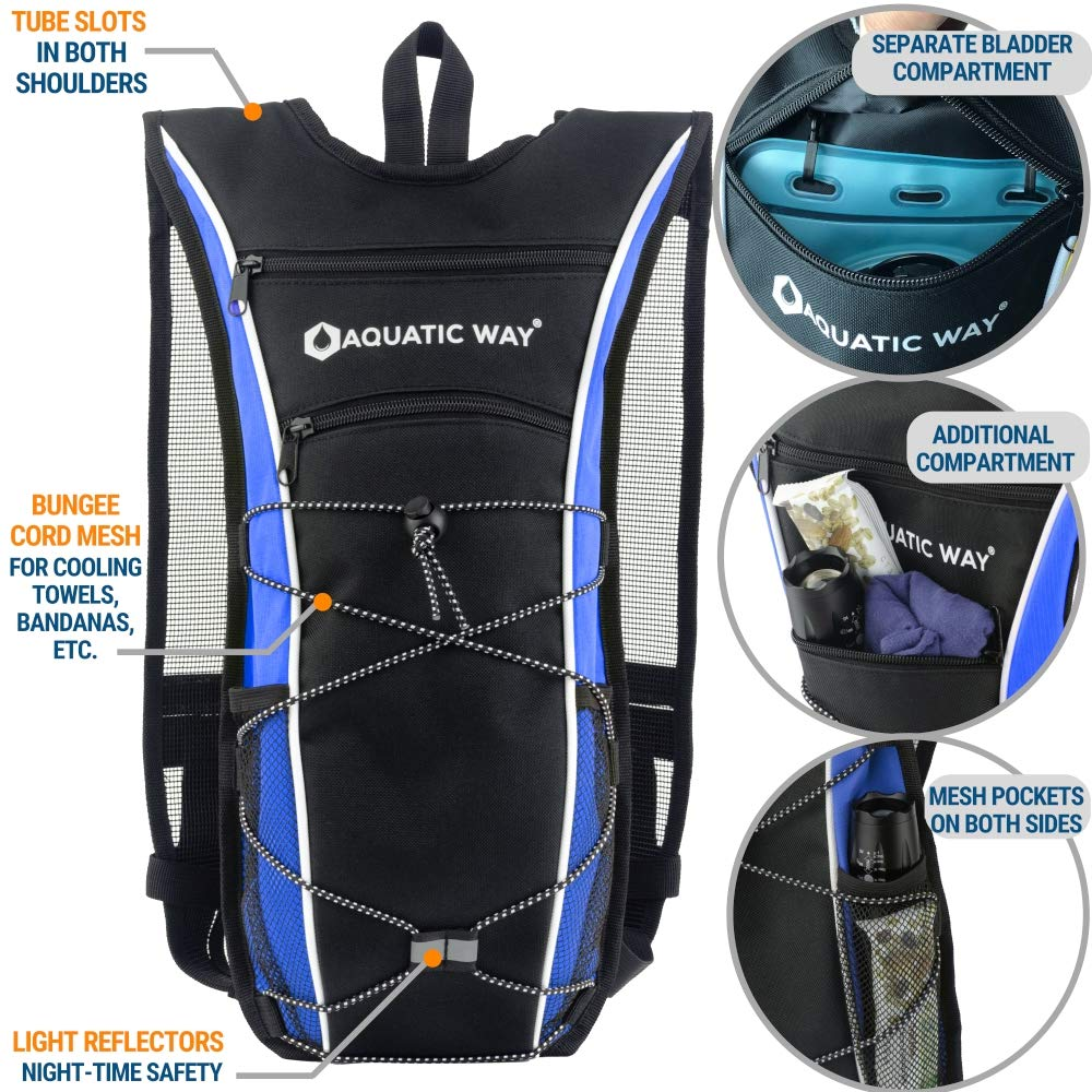 Aquatic Way Hydration Backpack with 2 Liter Water Bladder – Best Pack for Hiking, Biking, Running, Climbing, Marathon Pack