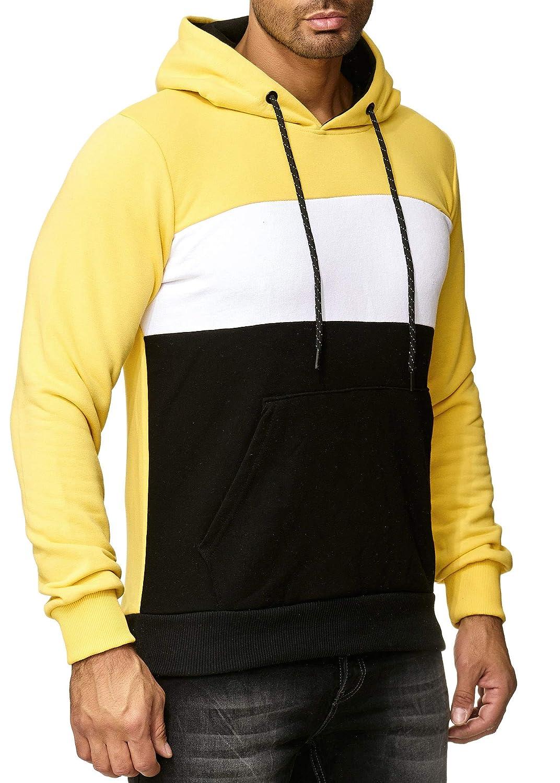 OneRedox Herren Pullover Kapuzenpullover Hoodie Sweatjacke Longsleeve Sweatshirt Jacke Basic Streifen