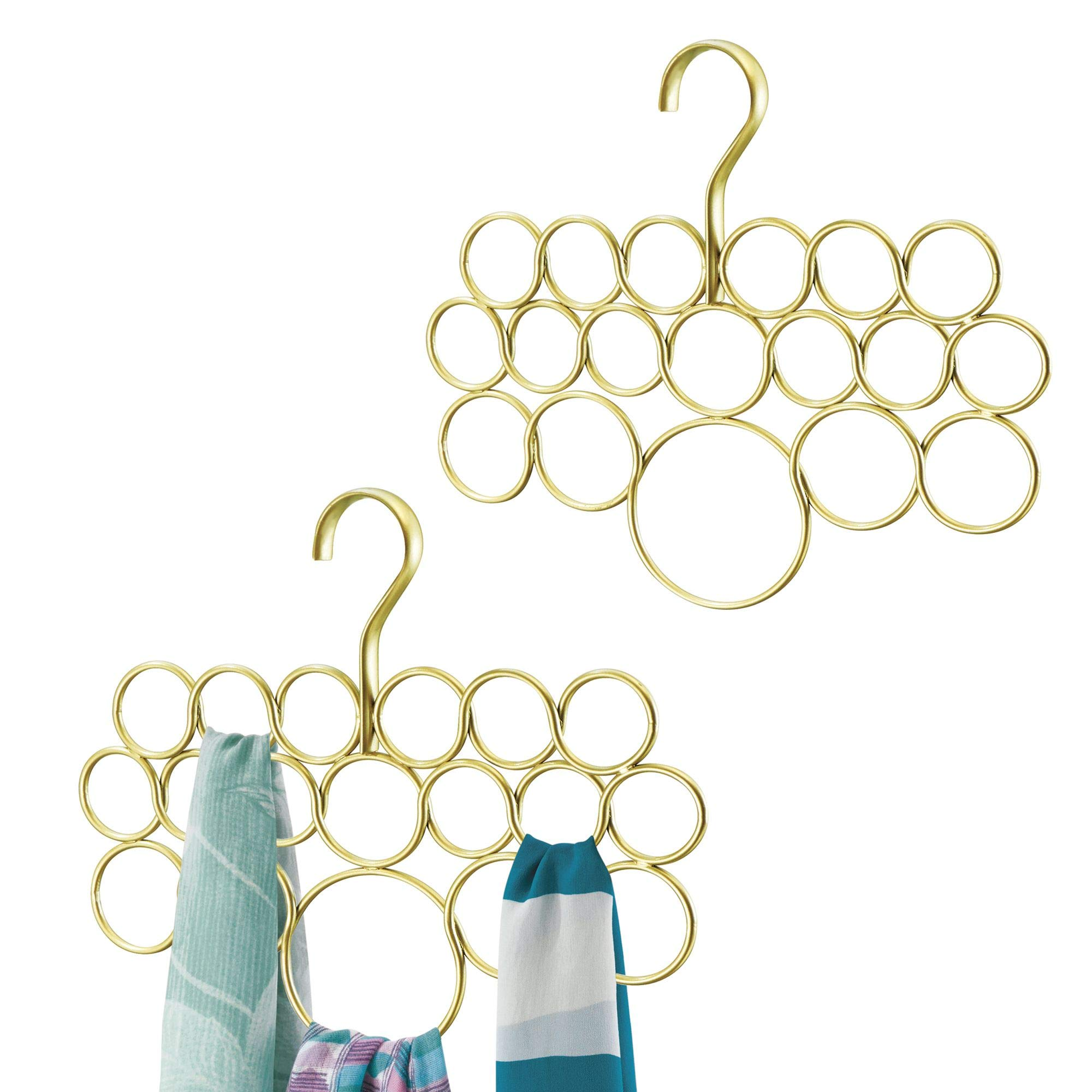 mDesign Closet Wire Metal Scarf Hanger Storage Organizer for Organizing Scarves, Ties, Belts, Shawls pashminas - Pack of 2, Gold/Brass
