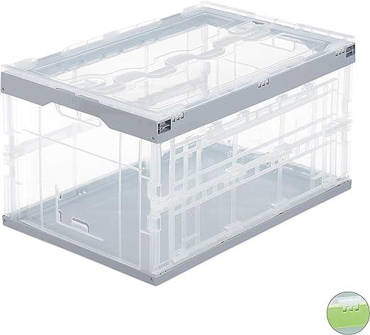 Relaxdays, Transparente-Gris, 31.5 x 59.5 x 39.5 cm Caja de ...