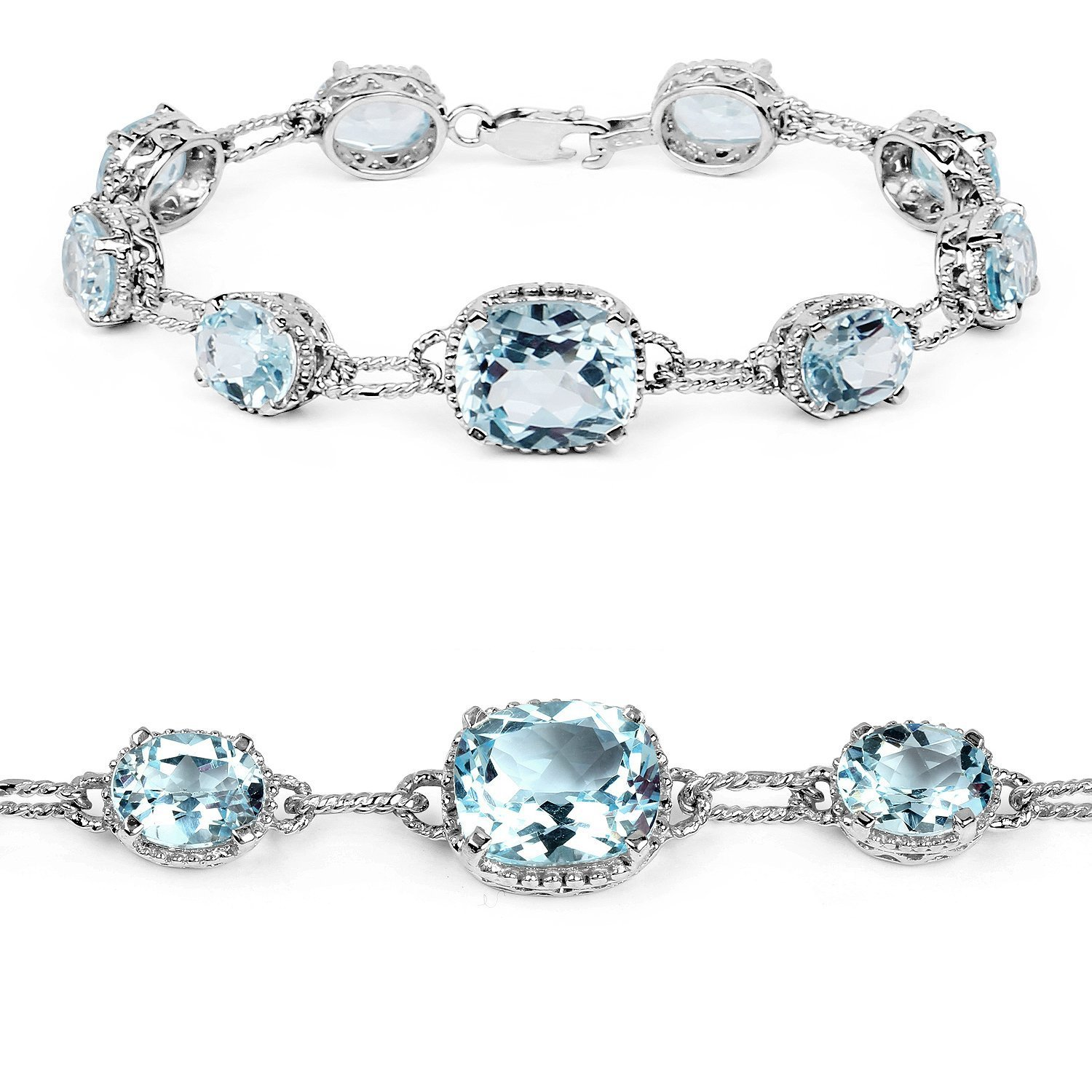 Johareez 24.70 Cts Blue Topaz .925 Sterling Silver Rhodium Plated Bracelet For Women