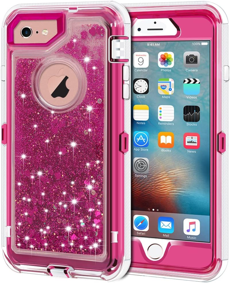 "Anuck iPhone 6S Case, iPhone 6 Case, 3 in 1 Hybrid Heavy Duty Defender Case Sparkly Floating Liquid Glitter Protective Hard Shell Shockproof TPU Cover for Apple iPhone 6 /iPhone 6S 4.7"" - Rose Red"