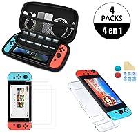 Nadole kit de accesorios Nintendo Swich  4 en 1 con Funda Nintendo Switch, Carcasa Transparente Joy-Con y Consola, 2 Protector de pantalla, Joy-Con Pulgar Grips, Paño de limpieza