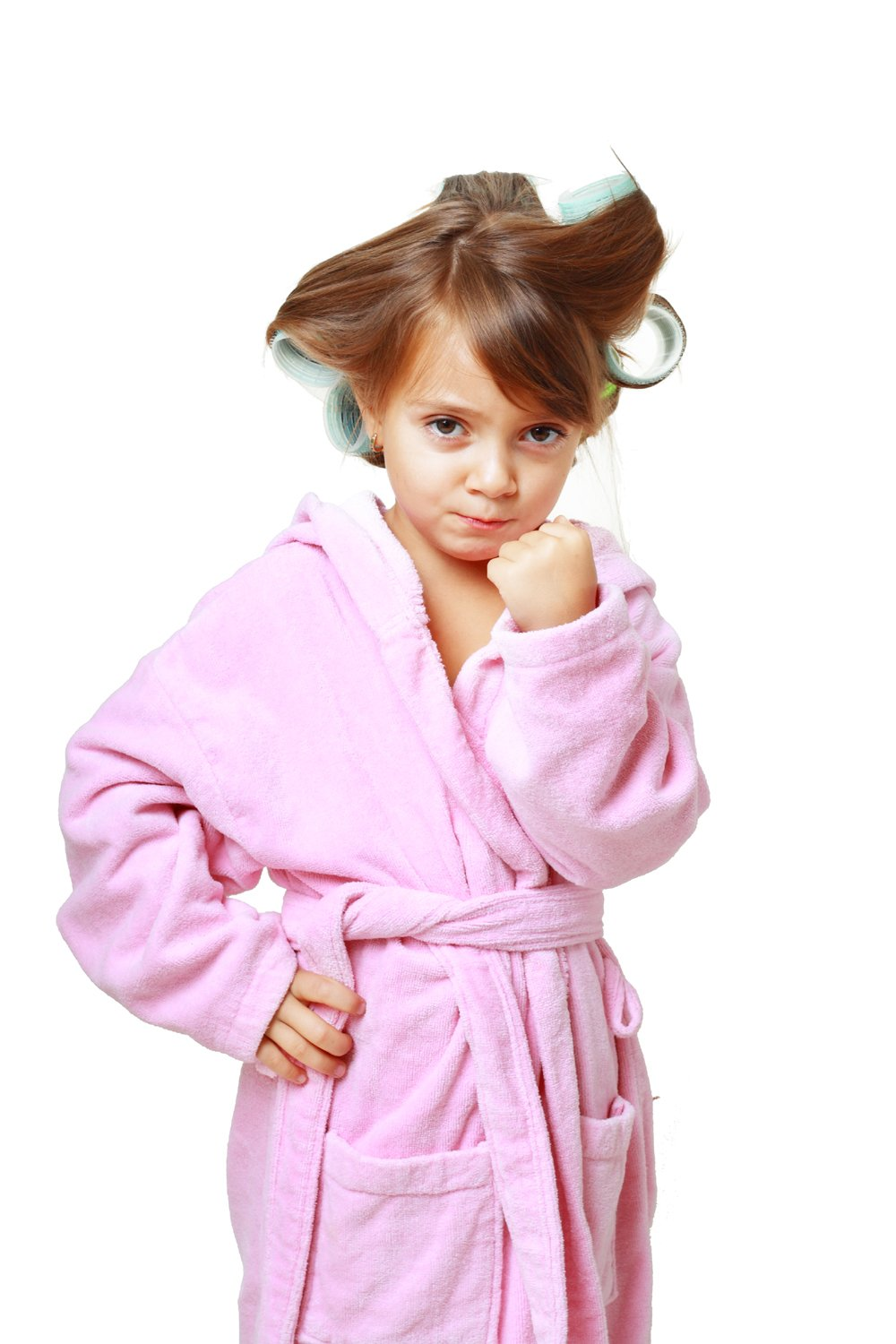 Customizable Terry Cotton Hooded Robe Girls, Pink Color, Size LARGE