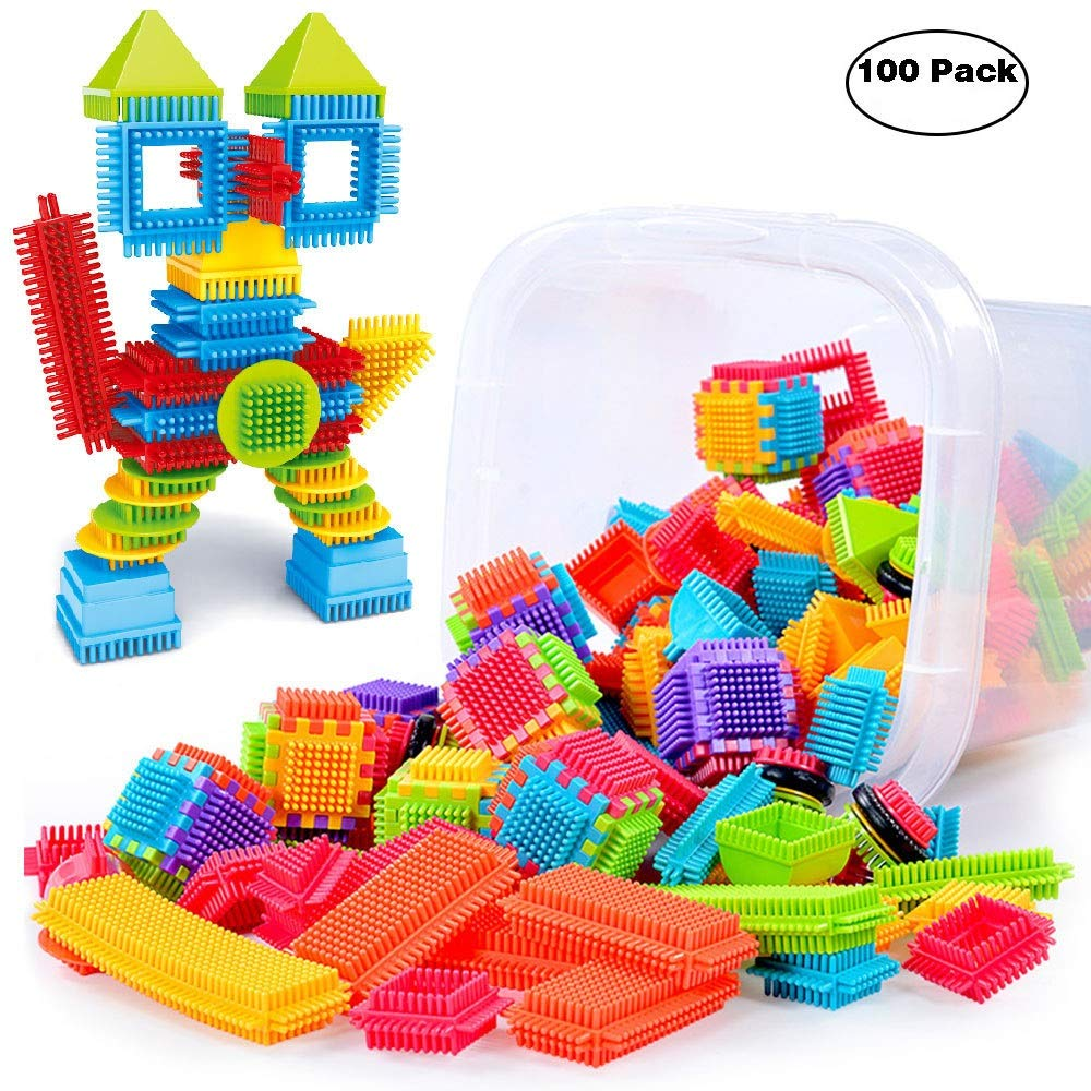 certainPL Bristle Shape 3D Building Blocks Tiles Construction Playboards Toys Toddlers Kids (100 PCS)