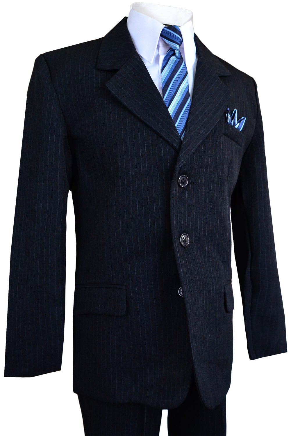 Boys Pinstripe Suit in Grey with Matching Tie Size 2-20 (3T, Dark Navy Blue)