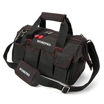 WORKPRO W081021A Bolsa de herramientas, multiusos, bolsa de almacenamiento de boca ancha, 14 pulgadas, azul, negro