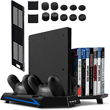 Todo para el streamer: Younik Soporte Vertical para PS4 / PS4 Slim con ventiladores, estación de carga para dos controles, estante de almacenamiento para 14 juegos