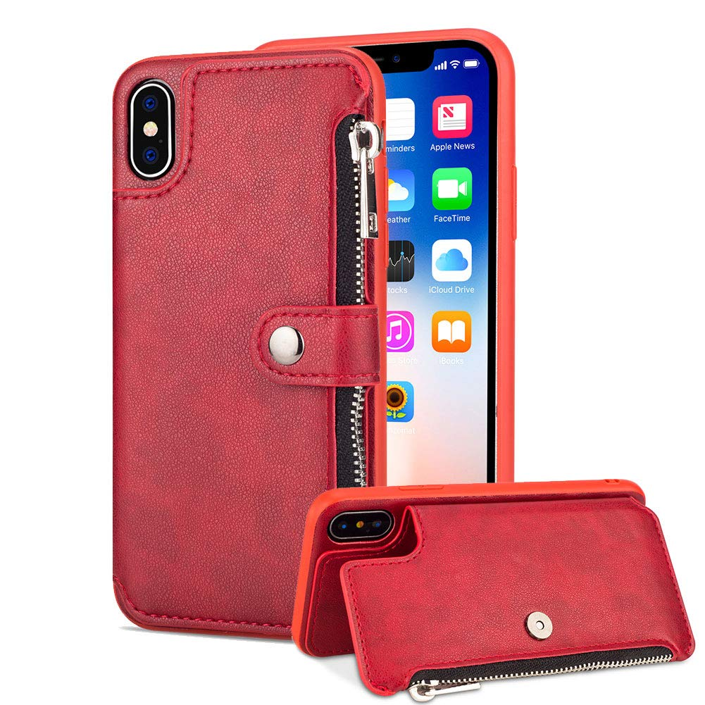 Aearl Samsung Galaxy S9 Plus Zipper Wallet Case,Galaxy S9 Plus Leather Case with Card Holder,Flip Folio Credit Card Slot Money Pocket Magnetic Detachable Buckle Wallet Phone Case for Women Men-Red