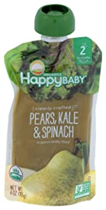 Happy Baby, Clearly Crafted Stage 2 Organic Baby Food, Pears Kale and Spinach, 4 oz, Clear Pouches Let You See Every Delicious Bite, Stage 2 Baby Food Pouches Are Great for 6 Months and Up