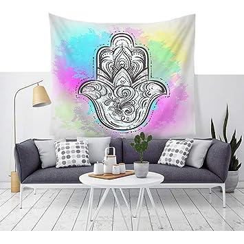 India étnico Hamsa Mano pared Alfombra Ombre Multicolor alta Fátima geométrica mano adornos de pared decorativa