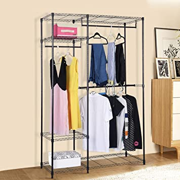 Tangkula Garment Rack Diy Portable Home Metal Clothes Hanger Closet Organizer Multilayer