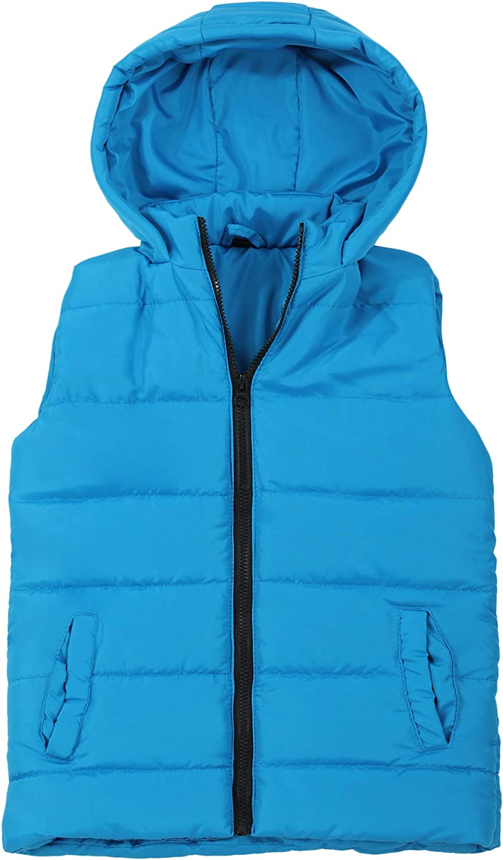 Boys Hood Puffer Quilted Vest Camo Print Lined Zipper Waistcoat