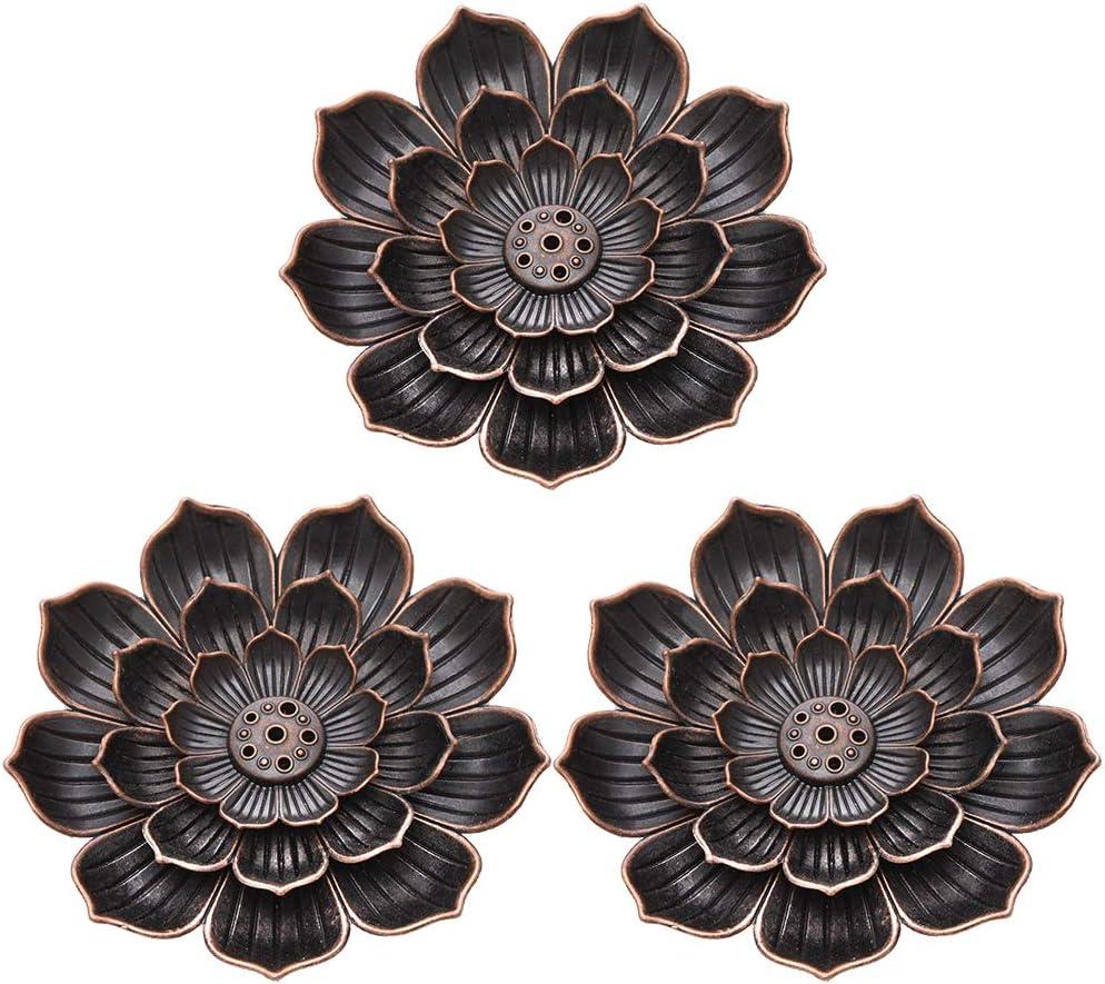 AUXSOUL 3 Piezas de Porta-inciensos de Loto Quemador de Incienso de Cono Soporte para Varilla de Incienso Lotus de Latón para Hogar Oficina Casa de Té