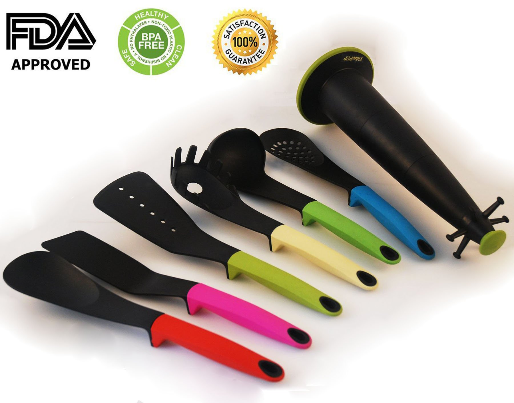 VideoPUP(TM) 6 Piece Heat Resistant Kitchen Utensil Set with Weighted Rubberized Easy Grip Handles, Multicolor (spaghetti server, ladle, solid spoon, slotted spoon, slotted turner, flexible turner)