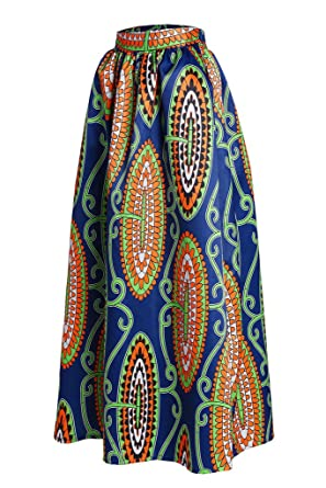 0aff4f47c94 Women s Abstract Floral African Printed Pleated Maxi Long Dress Skirt  Medium Blue