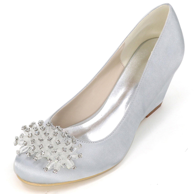 Elobaby Zapatos De Boda De Las Mujeres Sandalias De SatéN De Encaje con Punta Cerrada Noche Tacones De Aguja Nuevos/6.5cm TalóN 38 EU|Silver