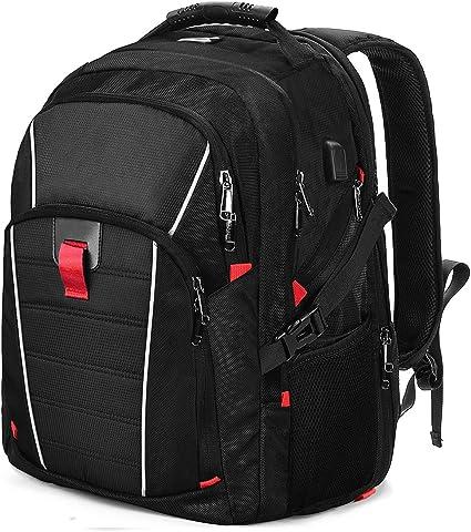 NUBILY Sac à Dos Homme Portable 17.3 Pouces Sac a Dos College Résistant à l'eau avec USB Charging Port Grande Capacité Voyage d'affaires Noir