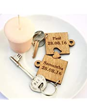 2 x Personalised Jigsaw Puzzle Piece Wooden Keyrings Each Engraved with Names & Date   Gifts for him or her