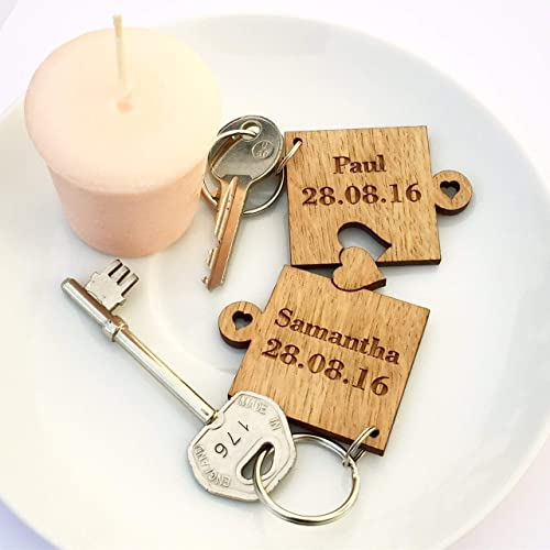 2 x Personalised Jigsaw Puzzle Piece Wooden Keyrings Each Engraved with  Names   Date  d24e24cba3