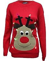 New Unisex Light Up Christmas Jumper Mens Womens Rudolph LED Novelty Sweater