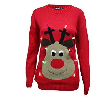 e1d7d3852c6 New Unisex Light Up Christmas Jumper Mens Womens Rudolph LED Novelty Sweater  (L XL