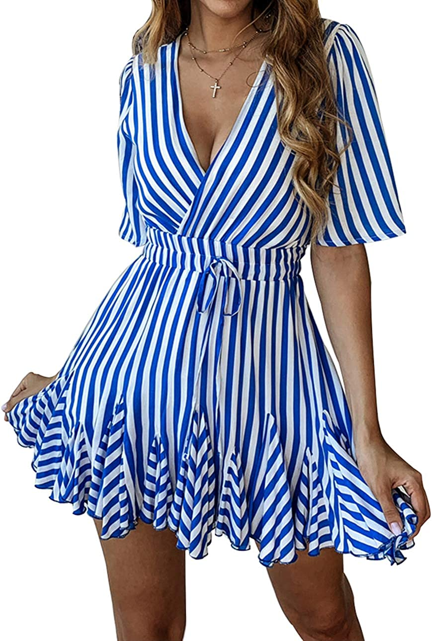 PRETTYGARDEN Women's Sexy Deep V Neck Short Sleeve Striped Wrap Ruffle Hem Pleated Mini Dress with Belt Blue